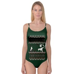 I Wasn t Good This Year, I Was Awesome! Ugly Holiday Christmas Green Background Camisole Leotard