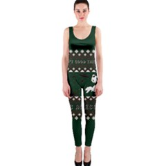 I Wasn t Good This Year, I Was Awesome! Ugly Holiday Christmas Green Background OnePiece Catsuit