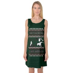 I Wasn t Good This Year, I Was Awesome! Ugly Holiday Christmas Green Background Sleeveless Satin Nightdress