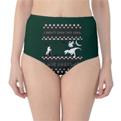 I Wasn t Good This Year, I Was Awesome! Ugly Holiday Christmas Green Background High-Waist Bikini Bottoms