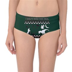 I Wasn t Good This Year, I Was Awesome! Ugly Holiday Christmas Green Background Mid Waist Bikini Bottoms