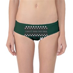 I Wasn t Good This Year, I Was Awesome! Ugly Holiday Christmas Green Background Classic Bikini Bottoms