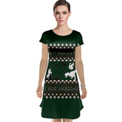 I Wasn t Good This Year, I Was Awesome! Ugly Holiday Christmas Green Background Cap Sleeve Nightdress