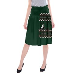 I Wasn t Good This Year, I Was Awesome! Ugly Holiday Christmas Green Background Midi Beach Skirt