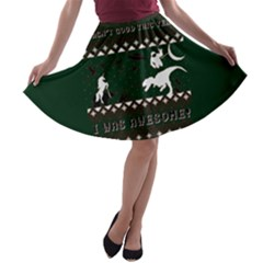 I Wasn t Good This Year, I Was Awesome! Ugly Holiday Christmas Green Background A-line Skater Skirt