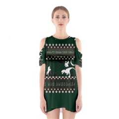 I Wasn t Good This Year, I Was Awesome! Ugly Holiday Christmas Green Background Cutout Shoulder Dress