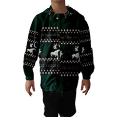 I Wasn t Good This Year, I Was Awesome! Ugly Holiday Christmas Green Background Hooded Wind Breaker (Kids)