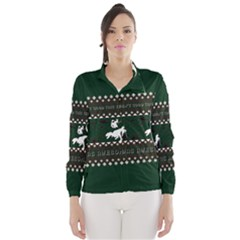I Wasn t Good This Year, I Was Awesome! Ugly Holiday Christmas Green Background Wind Breaker (Women)