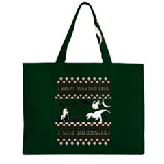 I Wasn t Good This Year, I Was Awesome! Ugly Holiday Christmas Green Background Large Tote Bag