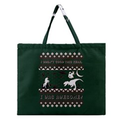I Wasn t Good This Year, I Was Awesome! Ugly Holiday Christmas Green Background Zipper Large Tote Bag