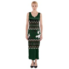 I Wasn t Good This Year, I Was Awesome! Ugly Holiday Christmas Green Background Fitted Maxi Dress