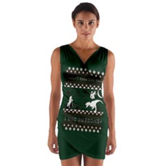 I Wasn t Good This Year, I Was Awesome! Ugly Holiday Christmas Green Background Wrap Front Bodycon Dress