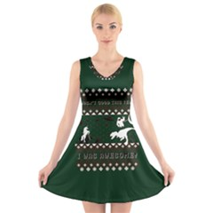 I Wasn t Good This Year, I Was Awesome! Ugly Holiday Christmas Green Background V-Neck Sleeveless Skater Dress