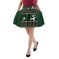 I Wasn t Good This Year, I Was Awesome! Ugly Holiday Christmas Green Background A-Line Pocket Skirt
