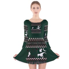 I Wasn t Good This Year, I Was Awesome! Ugly Holiday Christmas Green Background Long Sleeve Velvet Skater Dress