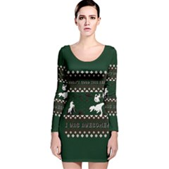 I Wasn t Good This Year, I Was Awesome! Ugly Holiday Christmas Green Background Long Sleeve Velvet Bodycon Dress
