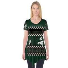 I Wasn t Good This Year, I Was Awesome! Ugly Holiday Christmas Green Background Short Sleeve Tunic
