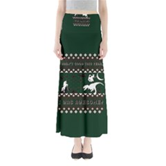 I Wasn t Good This Year, I Was Awesome! Ugly Holiday Christmas Green Background Maxi Skirts