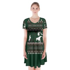 I Wasn t Good This Year, I Was Awesome! Ugly Holiday Christmas Green Background Short Sleeve V-neck Flare Dress