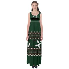 I Wasn t Good This Year, I Was Awesome! Ugly Holiday Christmas Green Background Empire Waist Maxi Dress