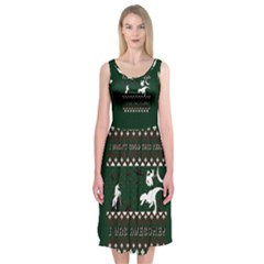 I Wasn t Good This Year, I Was Awesome! Ugly Holiday Christmas Green Background Midi Sleeveless Dress
