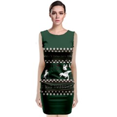 I Wasn t Good This Year, I Was Awesome! Ugly Holiday Christmas Green Background Classic Sleeveless Midi Dress