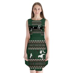 I Wasn t Good This Year, I Was Awesome! Ugly Holiday Christmas Green Background Sleeveless Chiffon Dress