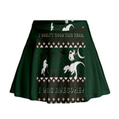I Wasn t Good This Year, I Was Awesome! Ugly Holiday Christmas Green Background Mini Flare Skirt