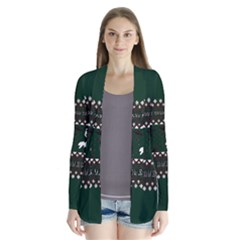 I Wasn t Good This Year, I Was Awesome! Ugly Holiday Christmas Green Background Drape Collar Cardigan