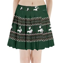 I Wasn t Good This Year, I Was Awesome! Ugly Holiday Christmas Green Background Pleated Mini Skirt