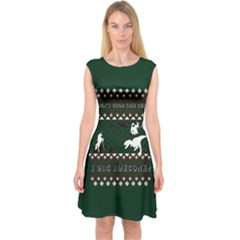 I Wasn t Good This Year, I Was Awesome! Ugly Holiday Christmas Green Background Capsleeve Midi Dress