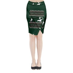 I Wasn t Good This Year, I Was Awesome! Ugly Holiday Christmas Green Background Midi Wrap Pencil Skirt