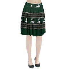 I Wasn t Good This Year, I Was Awesome! Ugly Holiday Christmas Green Background Pleated Skirt