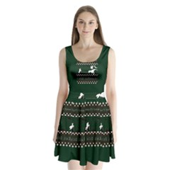 I Wasn t Good This Year, I Was Awesome! Ugly Holiday Christmas Green Background Split Back Mini Dress