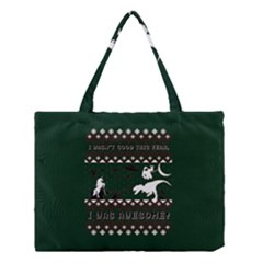 I Wasn t Good This Year, I Was Awesome! Ugly Holiday Christmas Green Background Medium Tote Bag