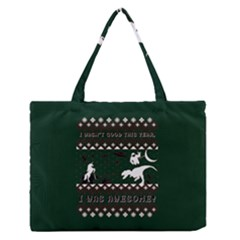 I Wasn t Good This Year, I Was Awesome! Ugly Holiday Christmas Green Background Medium Zipper Tote Bag