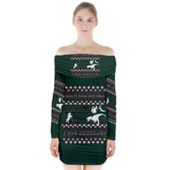 I Wasn t Good This Year, I Was Awesome! Ugly Holiday Christmas Green Background Long Sleeve Off Shoulder Dress