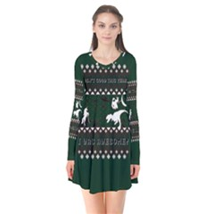 I Wasn t Good This Year, I Was Awesome! Ugly Holiday Christmas Green Background Flare Dress