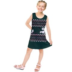 I Wasn t Good This Year, I Was Awesome! Ugly Holiday Christmas Green Background Kids  Tunic Dress
