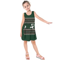 I Wasn t Good This Year, I Was Awesome! Ugly Holiday Christmas Green Background Kids  Sleeveless Dress