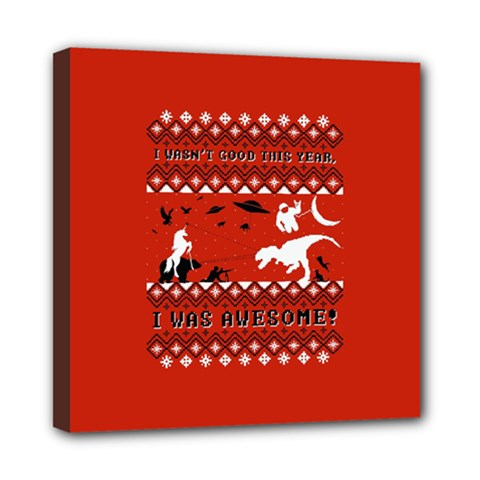 I Wasn t Good This Year, I Was Awesome! Ugly Holiday Christmas Red Background Mini Canvas 8  X 8
