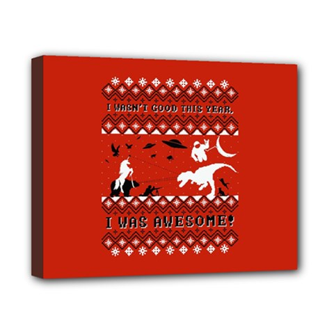 I Wasn t Good This Year, I Was Awesome! Ugly Holiday Christmas Red Background Canvas 10  x 8