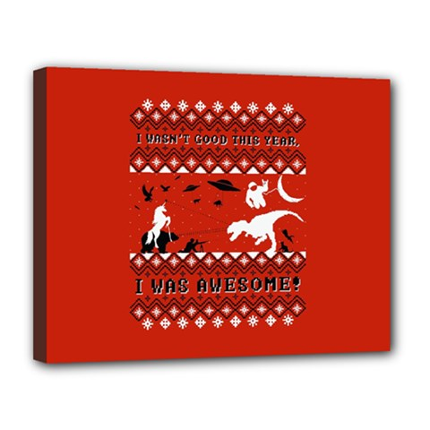 I Wasn t Good This Year, I Was Awesome! Ugly Holiday Christmas Red Background Canvas 14  x 11