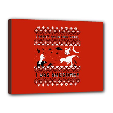 I Wasn t Good This Year, I Was Awesome! Ugly Holiday Christmas Red Background Canvas 16  x 12