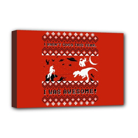 I Wasn t Good This Year, I Was Awesome! Ugly Holiday Christmas Red Background Deluxe Canvas 18  x 12