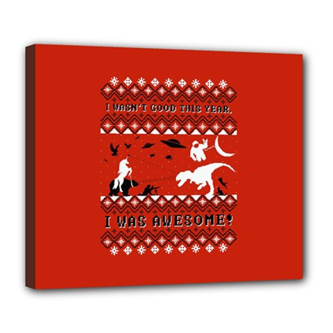I Wasn t Good This Year, I Was Awesome! Ugly Holiday Christmas Red Background Deluxe Canvas 24  x 20