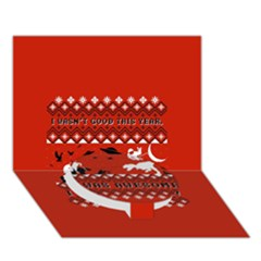 I Wasn t Good This Year, I Was Awesome! Ugly Holiday Christmas Red Background Circle Bottom 3D Greeting Card (7x5)