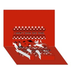 I Wasn t Good This Year, I Was Awesome! Ugly Holiday Christmas Red Background LOVE Bottom 3D Greeting Card (7x5)