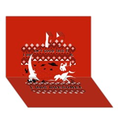 I Wasn t Good This Year, I Was Awesome! Ugly Holiday Christmas Red Background Apple 3D Greeting Card (7x5)