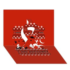 I Wasn t Good This Year, I Was Awesome! Ugly Holiday Christmas Red Background Ribbon 3d Greeting Card (7x5)